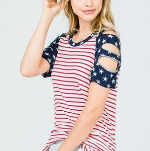 Tops - 🌞AMERICAN FLAG LADDER SLEEVE TOP🌞